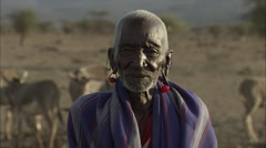 Portrait Old Maasai Man, Rift Valley Stock Footage