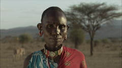 Portrait Old Maasai Woman, Rift Valley Stock Footage