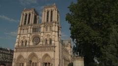Pan from Notre Dame to Quai de Montebello - stock footage