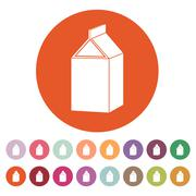 The milk box icon. Packing and container symbol. Flat Stock Illustration