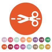The scissors icon. Cut here symbol. Flat - stock illustration