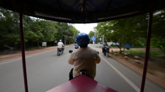 Scenic Drive with Tuk Tuk Taxi Driver in Siam Reap Angkor Wat Stock Footage