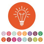 Stock Illustration of The lightbulb icon. Illumination symbol. Flat