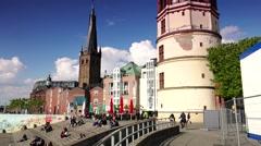 ULTRA HD 4K real time shot, Schlossturm Tower and Basilica of St Lambertus Stock Footage