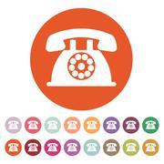 The phone icon. Telephone and support, hotline, helpdesk symbol. Flat Stock Illustration