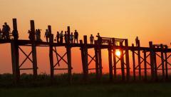 Amarapura Bridge  Sunset People Time Lapse Stock Footage