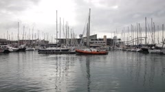 Recreational boats at Old Barcelona Harbor. Port Vell Stock Footage