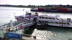 ULTRA HD 4K real time shot,Rhine embankment promenade in Dusseldorf Stock Footage