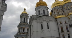 Cupolas on the foreground of cloudy sky -Great Church of The Assumption of The Stock Footage