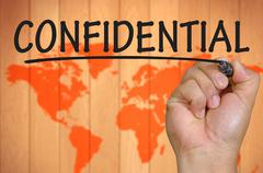 hand writing confidential - stock photo