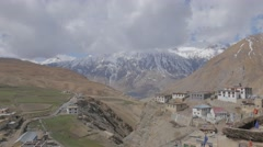 View of Kibber village and mountains,Kibber,Spiti,India Stock Footage