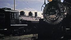 1972: Coal train cars Denver & Rio Grande take passengers across Colorado. Stock Footage