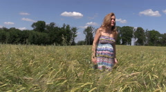 Pregnant woman walk between barley plants Stock Footage