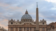 St. Peter's Basilica at SunSet. Rome, Italy. TimeLapse. 1280x720 Stock Footage