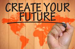 Stock Photo of hand writing create your future