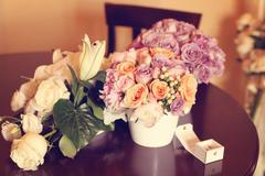 Beautiful flowers with bridal rings Stock Photos