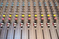 Music studio mixer detail - stock photo