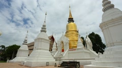 Gold stupa at Wat Suan Dok in Chiang Mai, Thailand Stock Footage