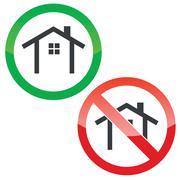 Cottage permission signs set - stock illustration