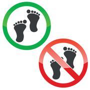 Stock Illustration of Footprint permission signs set