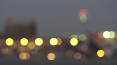 Night-time lights bokeh in the airport Stock Footage