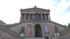 The facade of Alte Nationalgalerie in Mitte district, Berlin Stock Footage