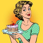 Woman dessert cake Stock Illustration