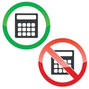 Calculate permission signs set Stock Illustration