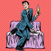 Playful man with a glass of champagne on the couch - stock illustration