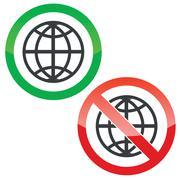 Global permission signs set - stock illustration