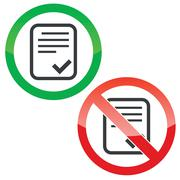 Approve document permission signs set - stock illustration