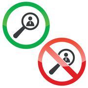 User details permission signs set Stock Illustration