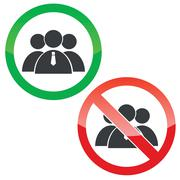 Group permission signs set Stock Illustration
