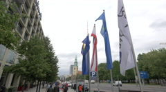 Flags in front of Radisson Blu Hotel, Berlin Stock Footage