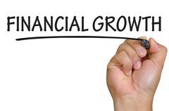 hand writing financial growth - stock photo