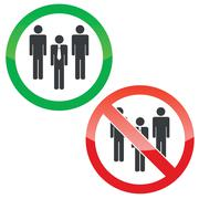 Work team permission signs set - stock illustration