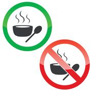 Stock Illustration of Hot soup permission signs set