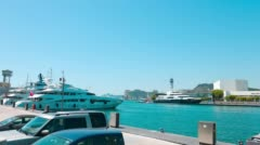 Motor yachts in Port Vell Barcelona, Spain 4K UltraHD Stock Footage