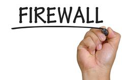 hand writing firewall - stock photo