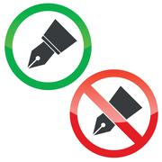 Ink pen permission signs set - stock illustration