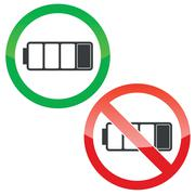 Low battery permission signs set - stock illustration