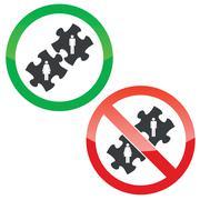 People puzzle permission signs set - stock illustration
