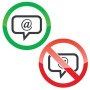 Stock Illustration of Mail message permission signs set