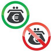 Euro purse permission signs set Stock Illustration