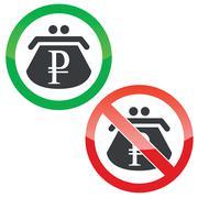 Ruble purse permission signs set - stock illustration