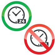 24 hours permission signs set Stock Illustration