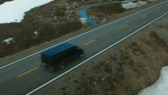 Aerial drone shot of a camper at arctic circle Stock Footage