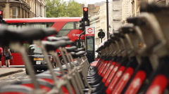Bike sharing stand in London Stock Footage