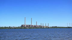 Thermal power plant  river Stock Footage