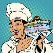 Pastry chef with birthday cake Stock Illustration
